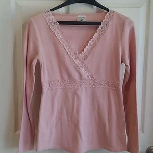 Ladies Maternity pink lace top size M
